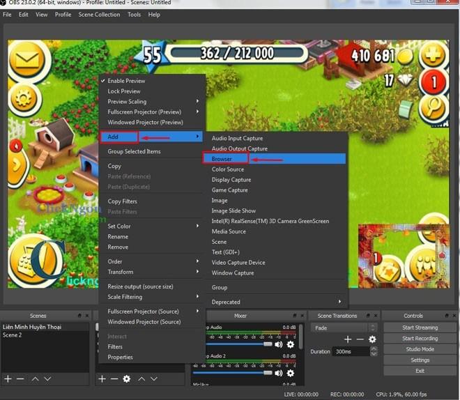chèn thông báo người đăng ký kênh vào live stream bằng phần mềm obs 8