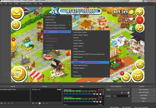 thêm chữ chạy khi phát live stream bằng obs studio 2
