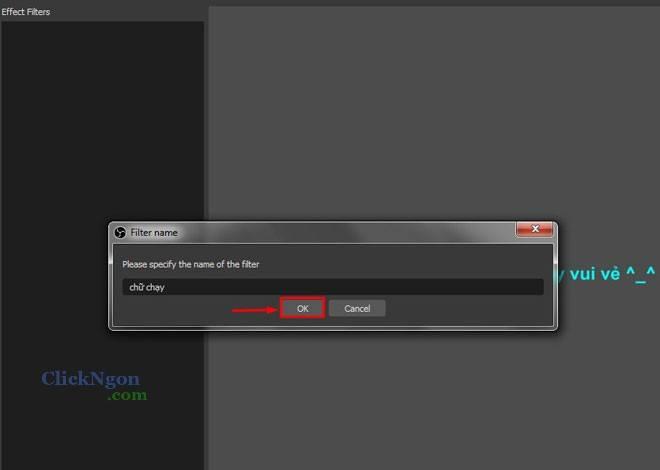 chữ chạy bằng phần mềm obs studio