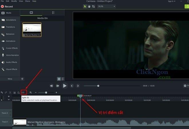 cắt video trong camtasia 9